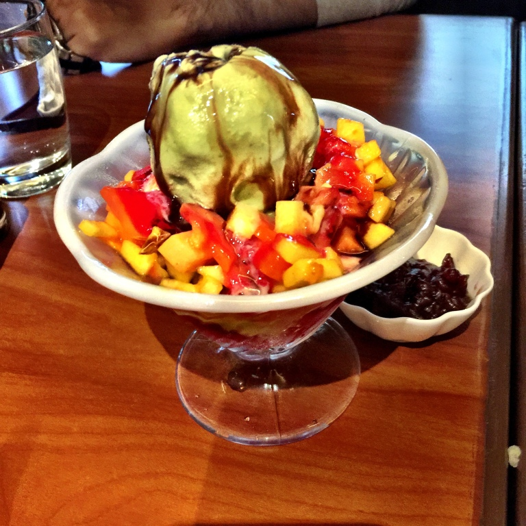 The Green Tea Ice Cream with fruits and shaved ice. One of the few real niceties for us.