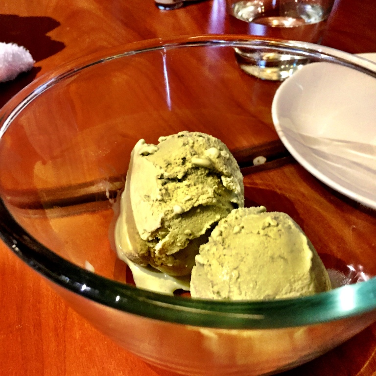 A bowlful of Green Tea Ice Cream. It hit the spot.