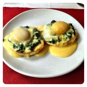 The perfectly buttery and soulful Eggs Florentine at Flour Works, Pune.