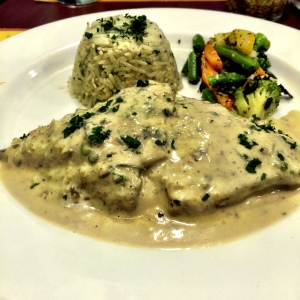 Kotopoulo Gemista, or Chicken Breast stuffed with assortments.
