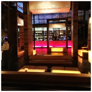 A shot of the exterior lounge area by night