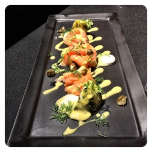 The Mozzarella and Norwegian Salmon duet  that looked oh so pretty