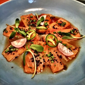 The beautiful Salmon Carpaccio at Fatty Bao Mumbai