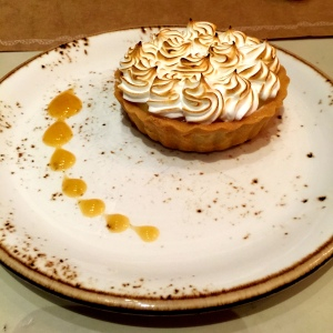 Lovely Lemon Meringue Tart, but it was so large that its loveliness grew thin by the end.