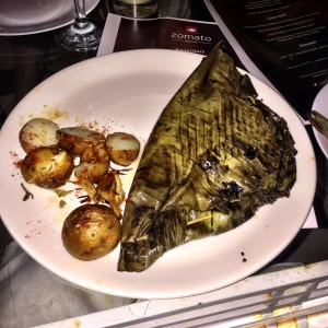 This fish was baked. In banana leaves