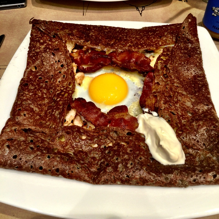 "The fantastic ""British"" crepe with eggs, mascarpone, cheddar, grilled chicken and bacon. Mmmm"