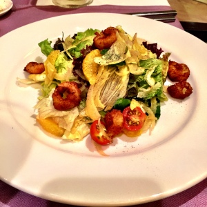The Fried Squid Ring Salad, of which I grabbed several pieces