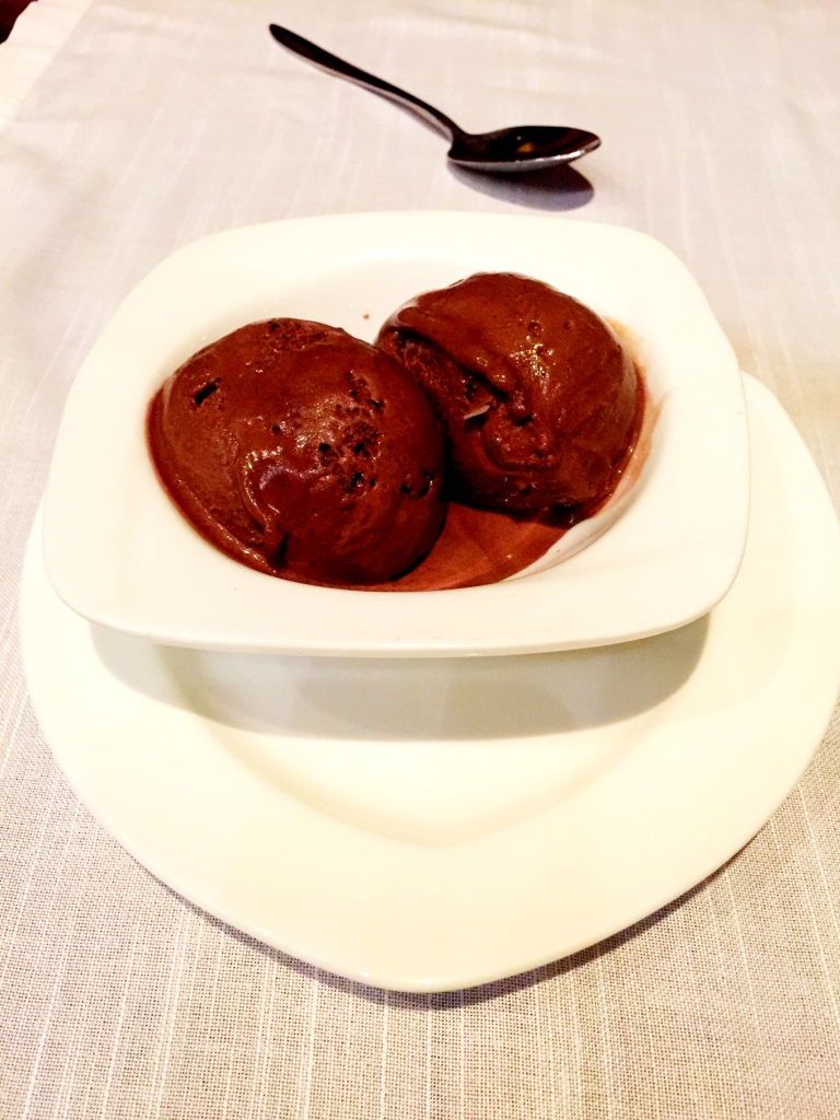 The Gianduja ice cream was sinfully rich and bliss in a bowl